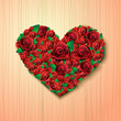 heart from roses on abstract background