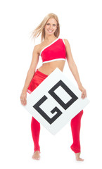 Cheerleader woman pointing her finger at a board