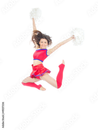 Happy female cheerleader dancer from cheerleading