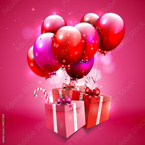 Pink background with balloons and gifts