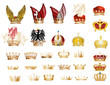 large set of gold crowns
