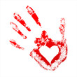Red handprint with a heart inside