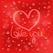 Love you. Drawn heart on the wet glass. Red background