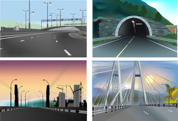 set of four landscapes with roads