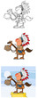 Indian Chief With Gun Cartoon Mascot Characters- Collection