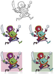 Pirate Zombie Cartoon Mascot Characters-Collection