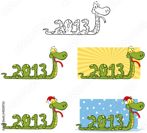 Funny Snake Cartoon Mascot Characters- Collection