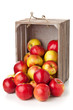 Organic apples in wooden box