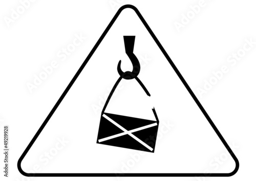 Attention - danger of the suspended loads sign