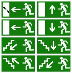 Rettungszeichen, Emergency exit signs, vector