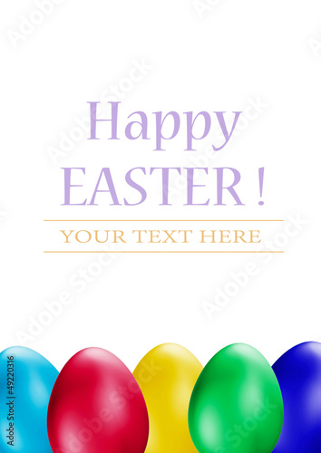 Easter Eggs on white background. Easter eggs border
