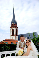 couple in front of church