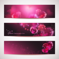 Vector set of 3 banners or headers with hearts.