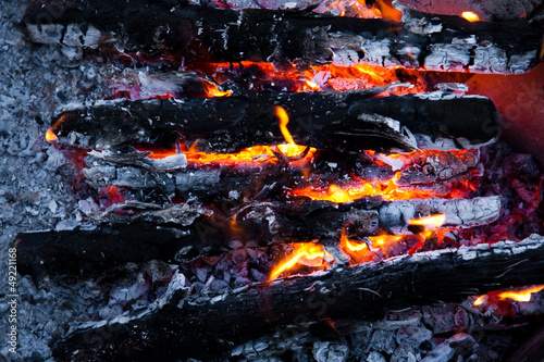 Burning wood and coal in fireplace.  Closeup of hot burning wood