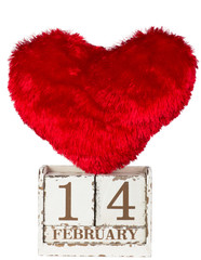 one red hearts with calendar