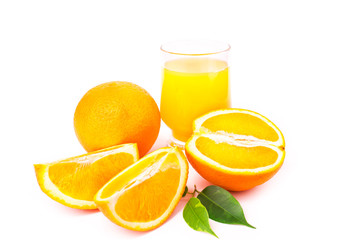 Juicy oranges and orange fresh juice