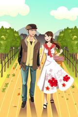 Couple walking in a winery