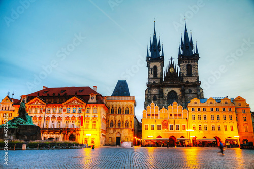 Church of Our Lady before Tyn in Prague at sunrise