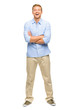 Handsome young man arms folded full length white background