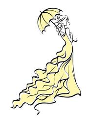 Young bride with umbrella