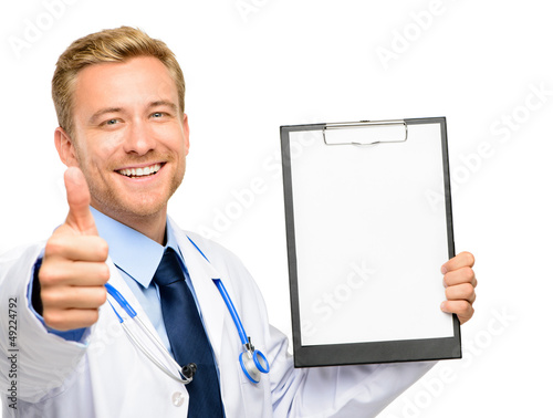 Portrait of confident young doctor on white background