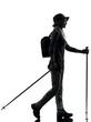 woman trekker trekking walking silhouette