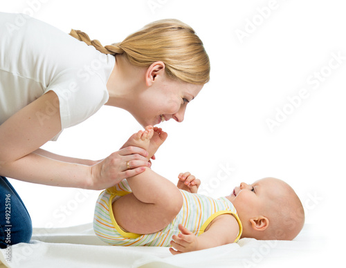 happy mother having fun with her baby infant