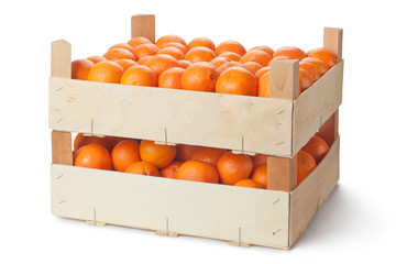Two retail crates of ripe tangerines