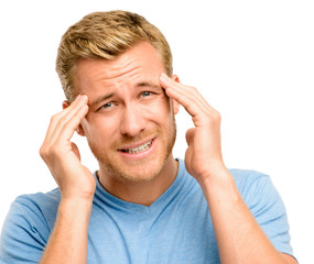 Worried young man suffering from headache