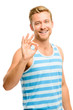 Happy man giving okay sign - portrait on white background