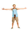 Happy tourist holding retro camera isolated on white