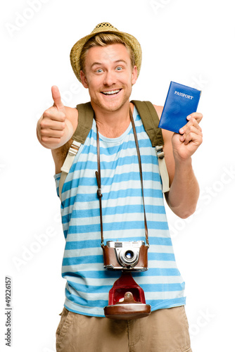 Happy tourist thumbs up passport retro camera isolated on white
