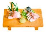 Slice Saba fish on the wooden bench poster