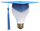 Graduation idea cap light bulb poster
