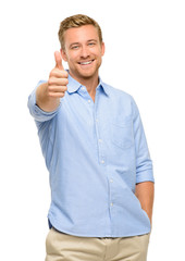 Happy man thumbs up sign portrait on white background