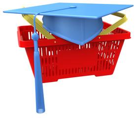 Graduation college school shopping basket