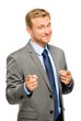 Happy businessman pointing on white background