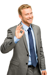 Happy businessman man okay sign - portrait on white background