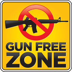 Gun Free Zone Assault Rifle Sign