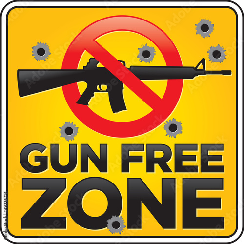 Gun Free Zone Assault Rifle Sign with Bullet Holes