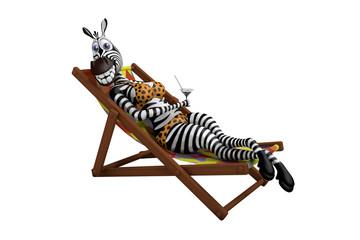 Zebra lies on a deck-chair