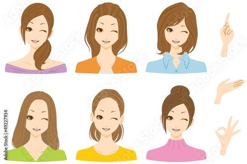 女性 複数 ウインク