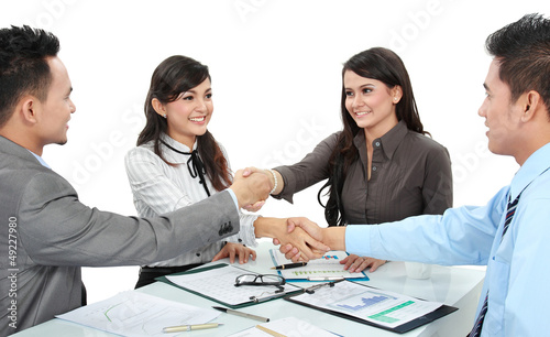 business team making a deal