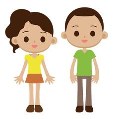 外国人 黒人の男の子と女の子