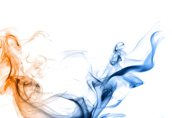 Blue and orange smoke on a white background.