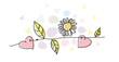 Zweig mit Blüten und Herzen