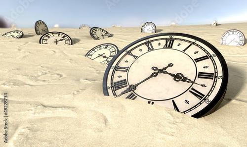 Antique Clocks In Desert Sand