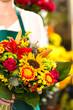colorful bouquet flowers florist holding flower market