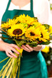 Woman holding bouquet sunflowers florist yellow flower