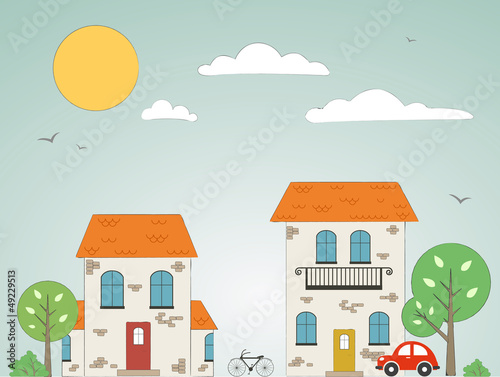 Old drawn city background with clouds. Vector